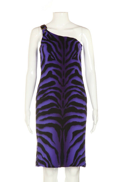 VERSACE One Shoulder Zebra Print Cocktail Dress Size 38 (XS)