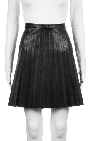 J.CREW Black Pleated Faux Leather Mini Flared Skirt Size 10