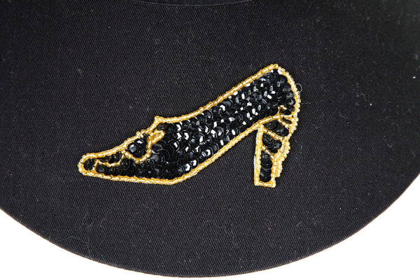 TROPICAL TRENDS Vintage Black Wide Brim Black Visor Sequin Embellished