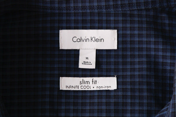CALVIN KLEIN Non-Iron Gingham Slim Fit Shirt - tag