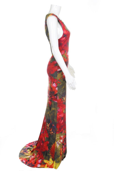 ALICE + OLIVIA Floral Maxi Dress Gown Open Back Size S