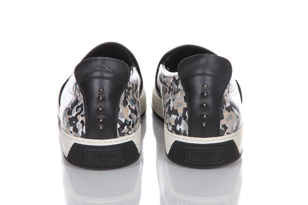 FENDI Monster Spike Camo Printed Leather Sneakers Size 10