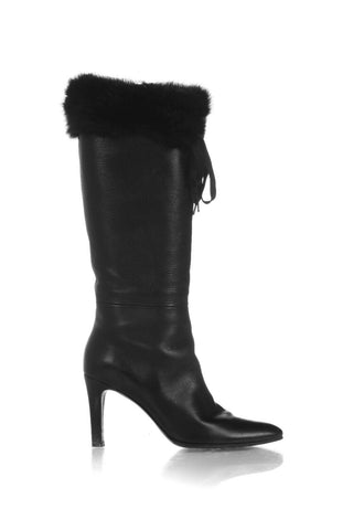 GUCCI Black Knee High Fur Trim Boots Size 8