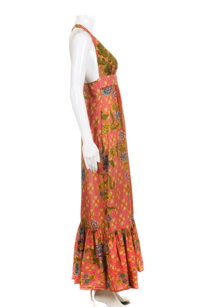 COREY LYNN CALTER Orange Floral Halter Midi Dress Size 4