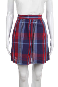 STEVEN ALAN Red Blue A-Line Flared Plaid Skirt Size 4