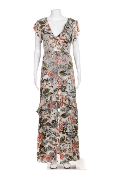 FOR LOVE & LEMONS Pink Gray Floral Maxi Dress Ruffles Size S