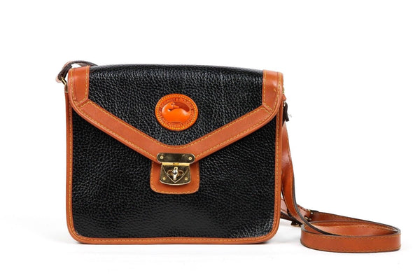 DOONEY & BOURKE Black Cognac Crossbody Bag in Pebbled Leather