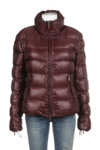 ADD Down Shiny Puffer Jacket Maroon Red Size 10