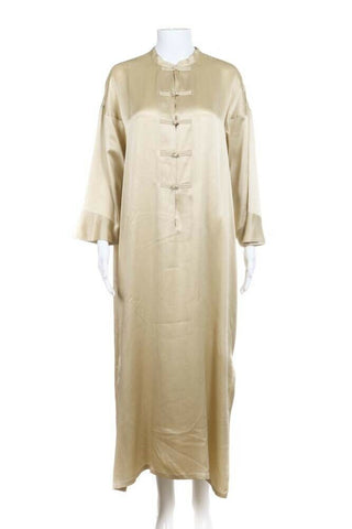 Gold 100% Silk Kaftan Midi Maxi Dress Size S