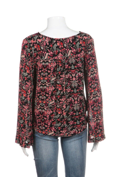 EN CREME Black Pink Floral Long Sleeve Top Size S