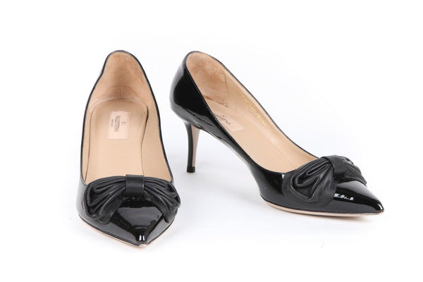 VALENTINO Black Patent Leather Pumps With Bow Size 39.5