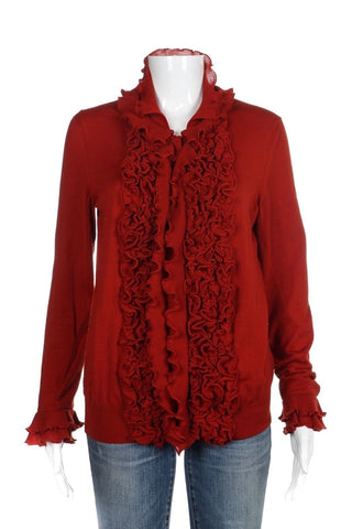 YVES SAINT LAURENT Red Wool Ruffled Cardigan Sweater Top Size M