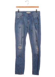 ZARA Bead Embellished Blue Distressed Jeans Size 2