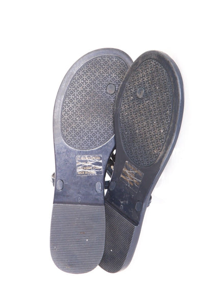 TORY BURCH Thong Rubber Sandals Navy Blue Logo Size 9