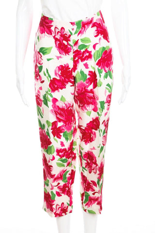 TIBI Floral Printed 100% Silk Ankle Pants Size 6
