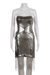 BEBE Silver Sequin Strapless Uptown Party Dress Fringe Size S (New)