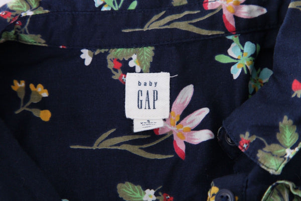 BABY GAP Navy Blue Floral Printed Collared Dress Toddler Girl Size 3T