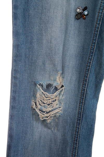 ZARA Bead Embellished Distressed Jeans Size 2