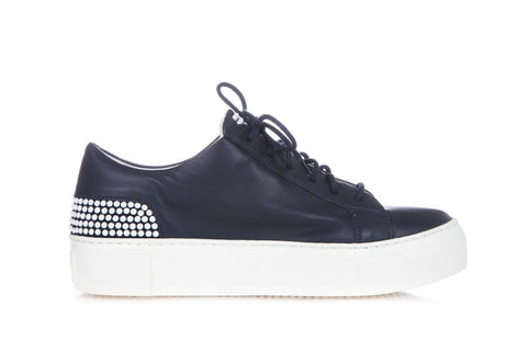 AGL Blue Leather Platform Sneakers Pearl Bead Embellished Shoes