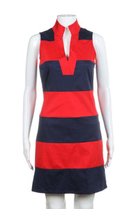 Navy Blue and Red Striped Cocktail Dress Size 00