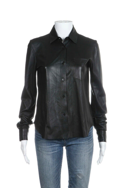 Black Button Down Genuine Leather Shirt Top Size XS