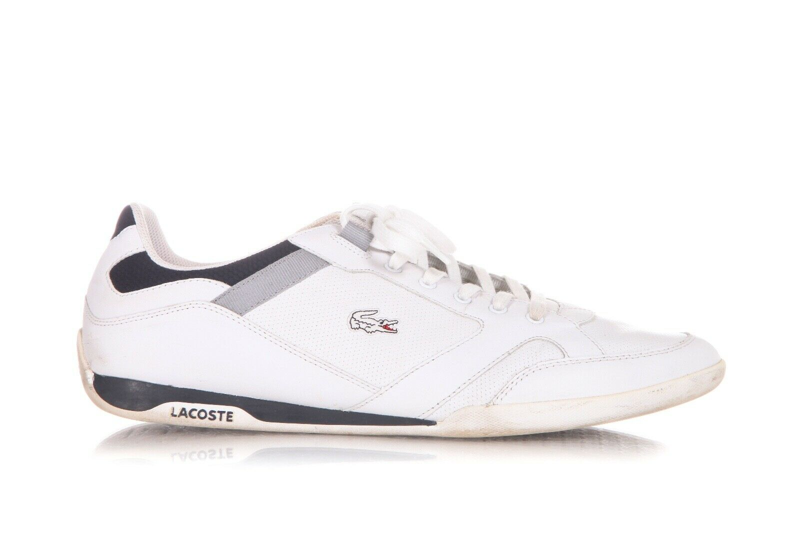 LACOSTE White Tennis Shoes Leather Lace Up Sneakers Size 47