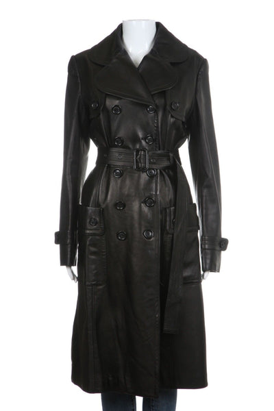 VERA PELLE Black Lamb Leather Trench Coat Jacket Size 10