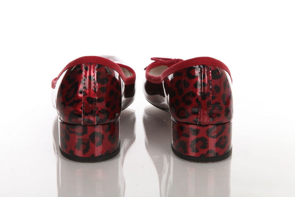 REPETTO Ballet Heels Red Black Patent Leather Animal Print Size 37.5