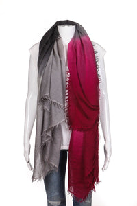 Bajra Wool Silk Ombre Scarf Gray Pink