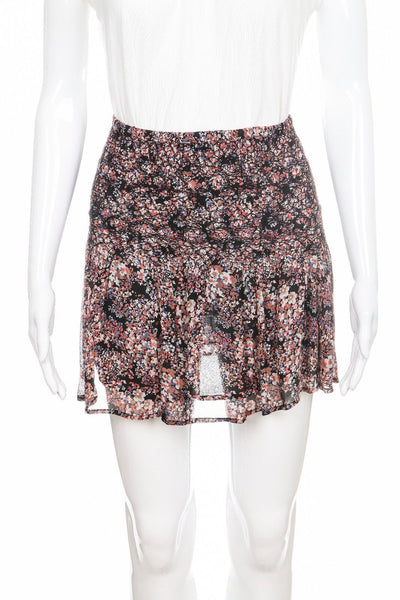 ULLA JOHNSON Mini Flared Floral Silk Skirt