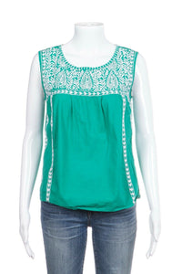 Green Sleeveless Top With White Embroidery
