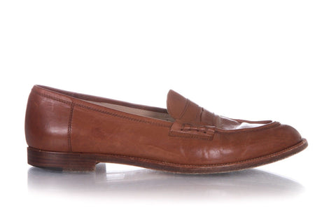 MANOLO BLAHNIK Brown Leather Loafers Shoes Size 39.5