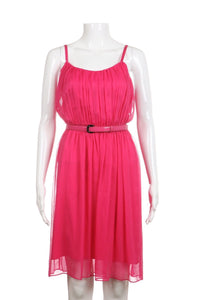 ALICE + OLIVIA Pink Chiffon Pleated Flowy Dress With Belt Size 12