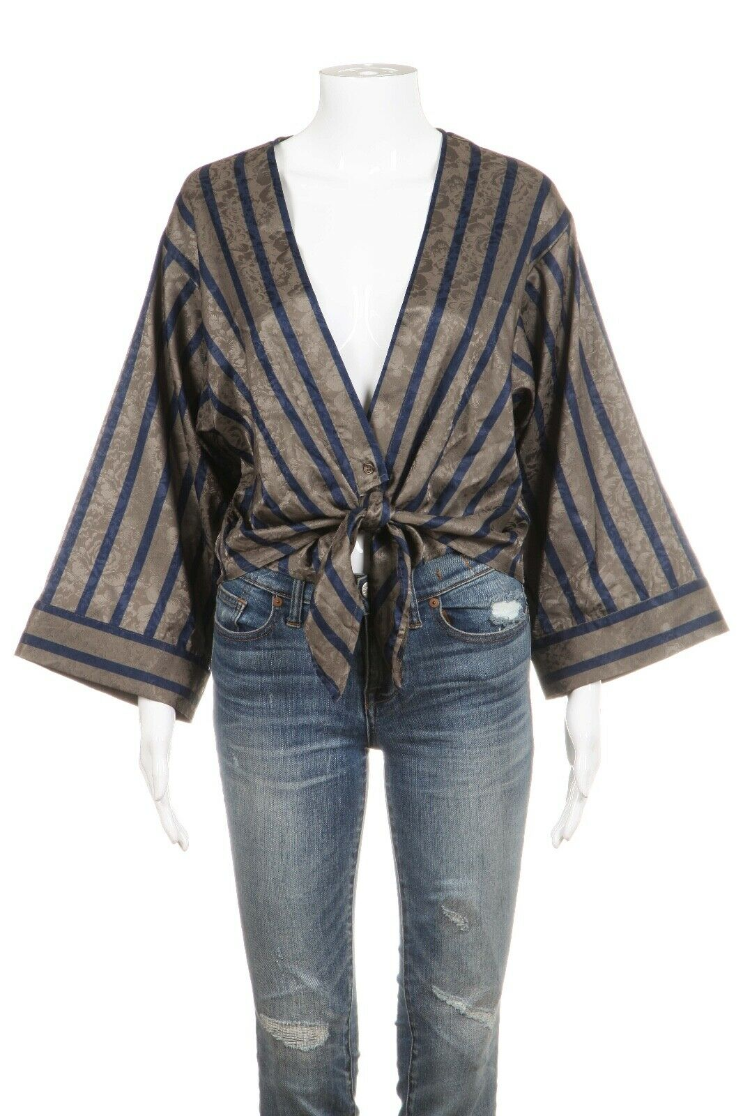 SAM & LAVI Tie Cropped Striped Kimono Blouse Size XS