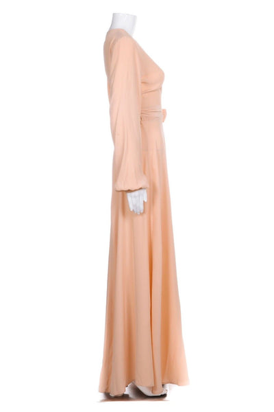 KAMPERETT Linden Peach Maxi Dress 100% Silk Peach Wrap Size M