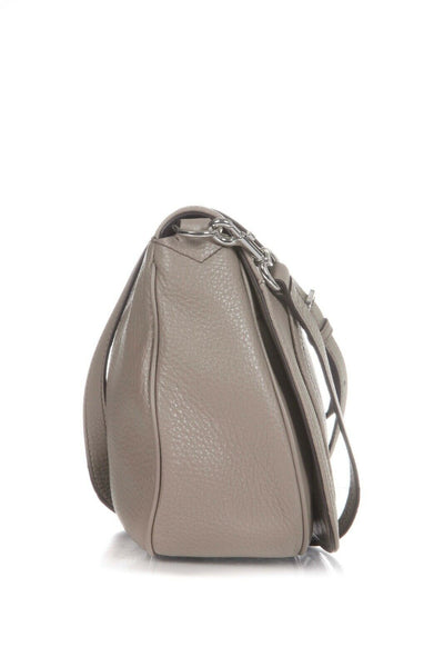 Taupe Saddle Bag Grained Leather Crossbody