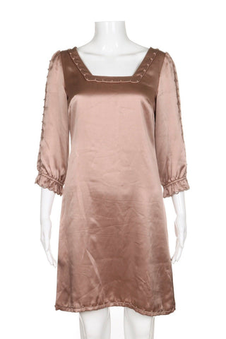 ELIE TAHARI Mauve Taupe Silk Sheath Cocktail Dress Size 2
