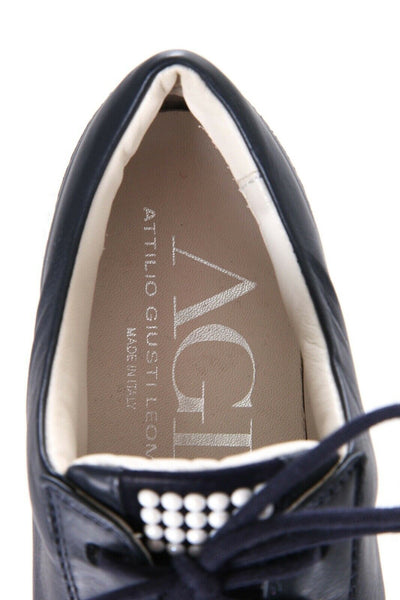 AGL Blue Leather Platform Sneakers Pearl Bead Embellished Size 37