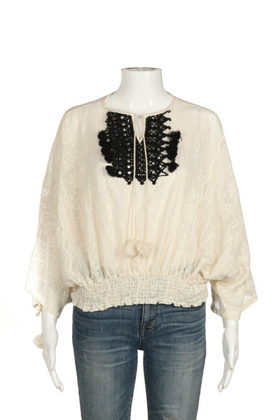VINEET BAHL Cream Boho Top Size XS