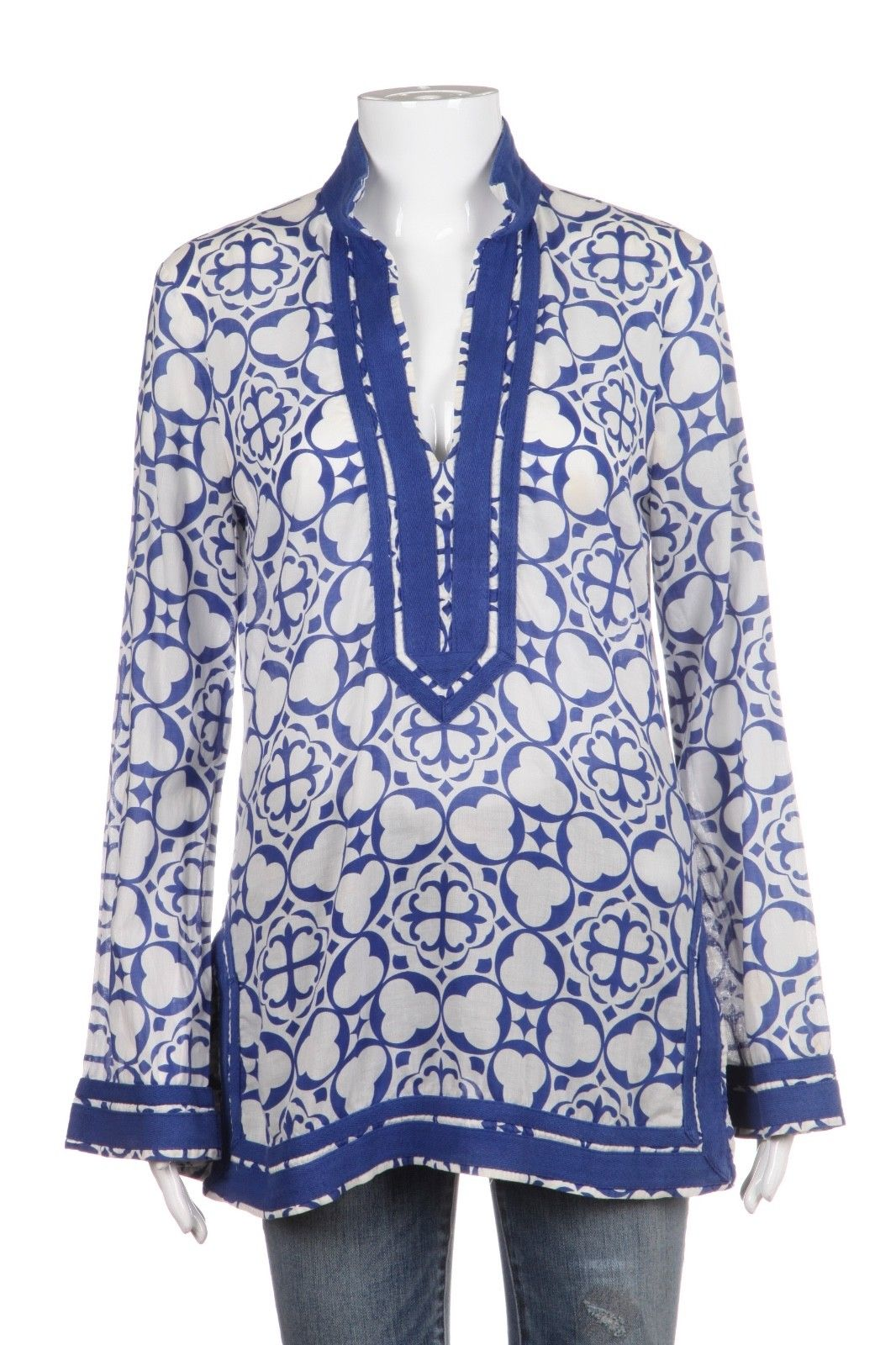 TORY BURCH Blouse White Blue Print Tunic Size 6