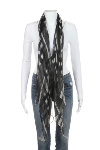 Black Gray Plaid 100% Silk Sheer Scarf