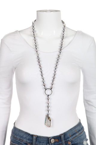 REBECCA NORMAN Long Crystal Pendant Pearl Necklace