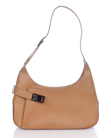 SALVATORE FERRAGAMO Tan Leather Shoulder Bag