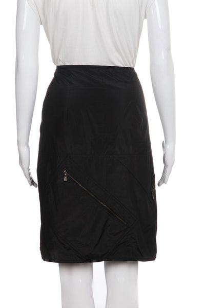 YVES SAINT LAURENT Silk Straight Skirt Size L