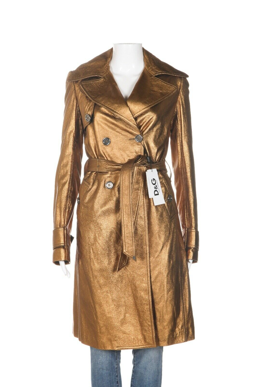 D&G Lambskin Leather Metallic Trench Coat Size 38 (XS)