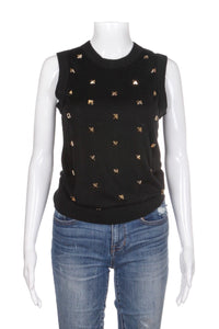 KATE SPADE Tarlyn Knit Top Blouse With Gold Studs (New)