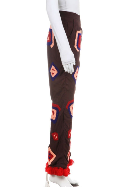 ALL THINGS MOCHI Fina Pants Brown Red Blue Embroidered Tassel Size S