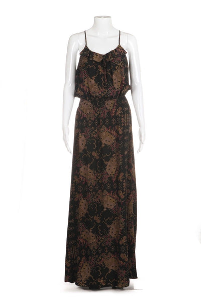 PARKER Printed 100% Silk Maxi Dress Racerback Size S