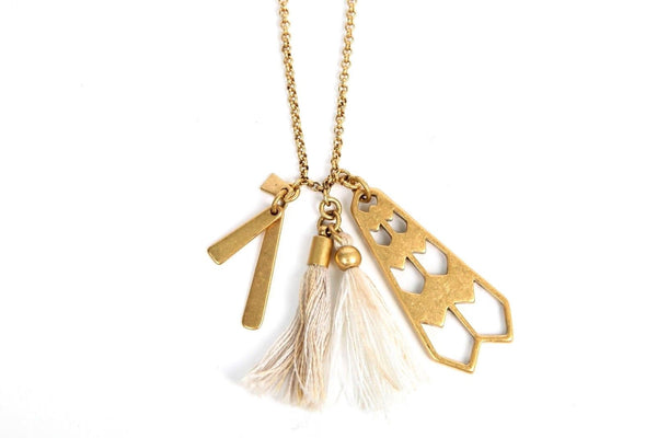 J.CREW Chain Necklace Gold Tone Tassel Charms