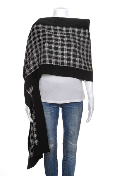 FE ZANDI Beverly Hills Black White Checked Print Shawl